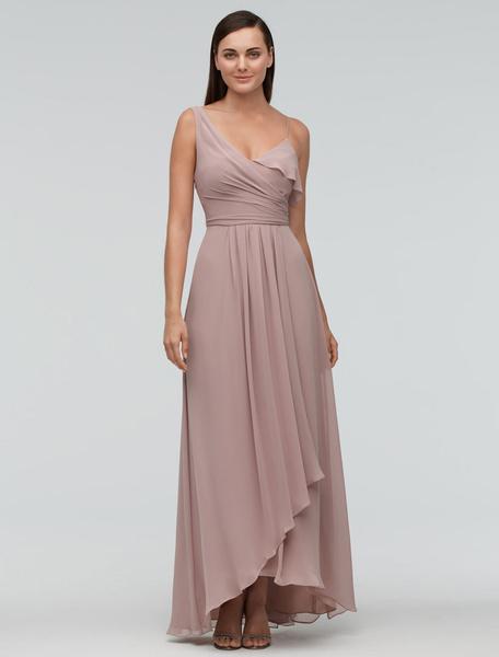 Milanoo Blush de Dama de honor vestido gasa Maxi vestido de fiesta un solo hombro vestido de noche vestido de novia