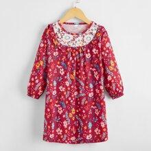 Vestido tunico ribete con fruncido con estampado floral