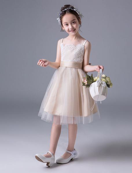 Milanoo Flower Girl Dresses Lace Tutu Dress Princess Slip Dress Bow Sash Sleeveless Summer Party Dresses For Kids