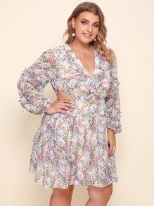 Plus V-neck Ruffle Trim Cutout Waist Floral Dress