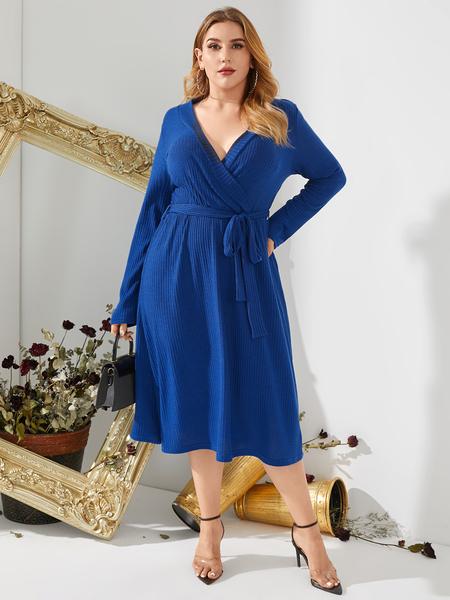 YOINS Plus Size Deep V Neck Wrap Design Ribbed Knit Long Sleeves Midi Dress