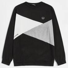Pullover mit Buchstaben und Grafik Muster und Farbblock