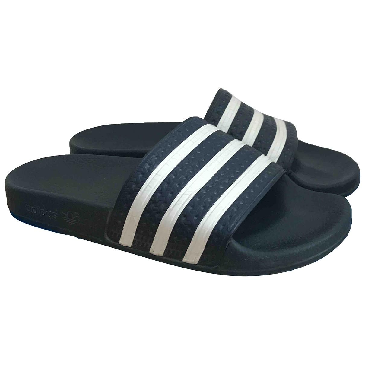 Adidas - Sandales Adilette  pour femme en caoutchouc - marine