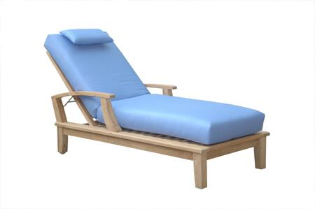 Brianna Collection SL-109N Sun Lounger with Colored Sunbrella Cushions  4 Adjustable Positions and Teak Constructed Wheels in