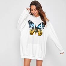 Butterfly Print Drop Shoulder Sweatshirt Dress