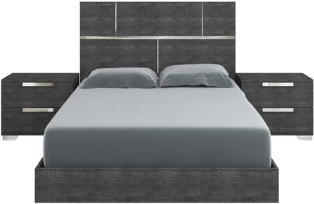 Milo Collection TC9005QG2HSET 3 PC Bedroom Set with Grey Birch Lacquer Queen Size Platform Bed and 2