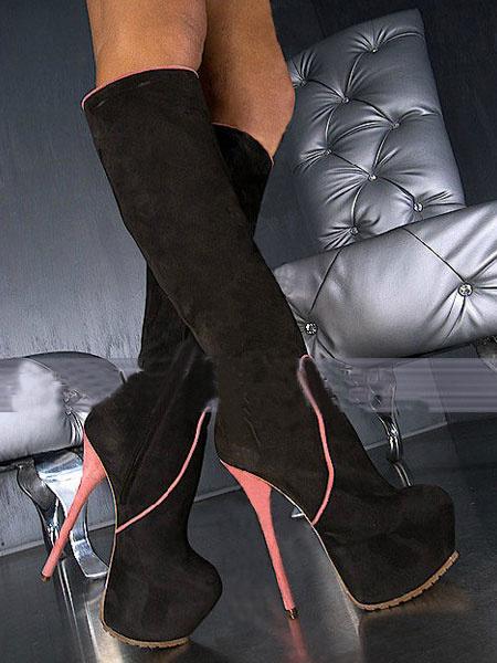Milanoo Knee High Boots Stiletto Heel Almond Toe Two Tone Nubuck Women's Boots