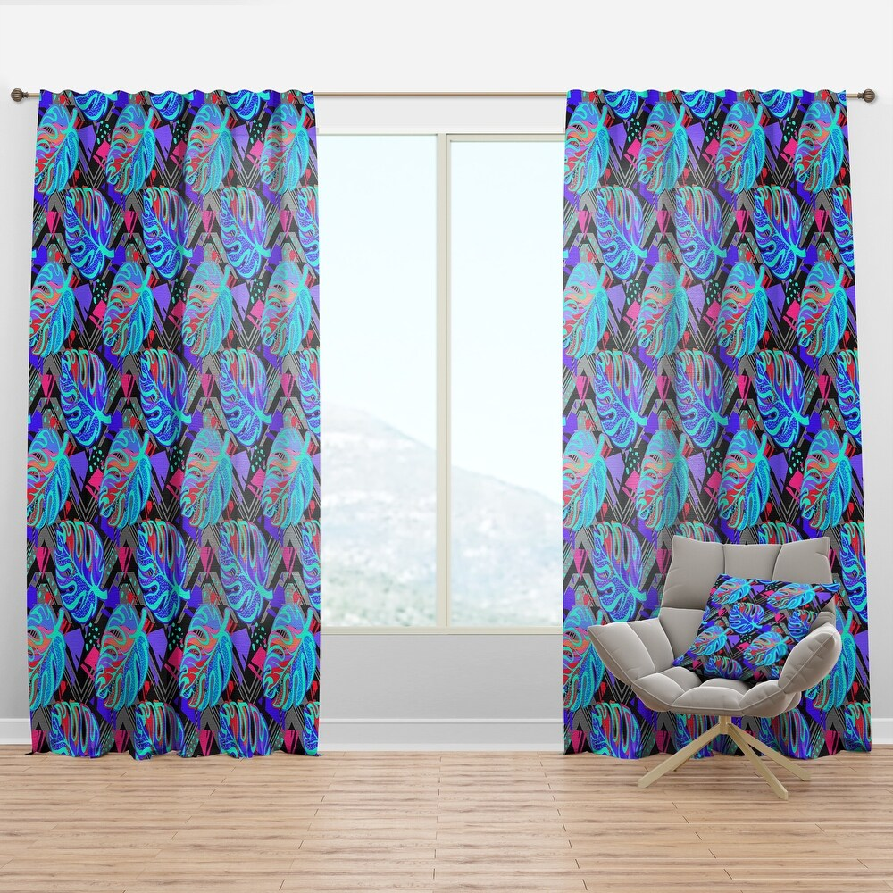Designart 'Exotic Leaves Pattern' Tropical Curtain Panel (50 in. wide x 84 in. high - 1 Panel)