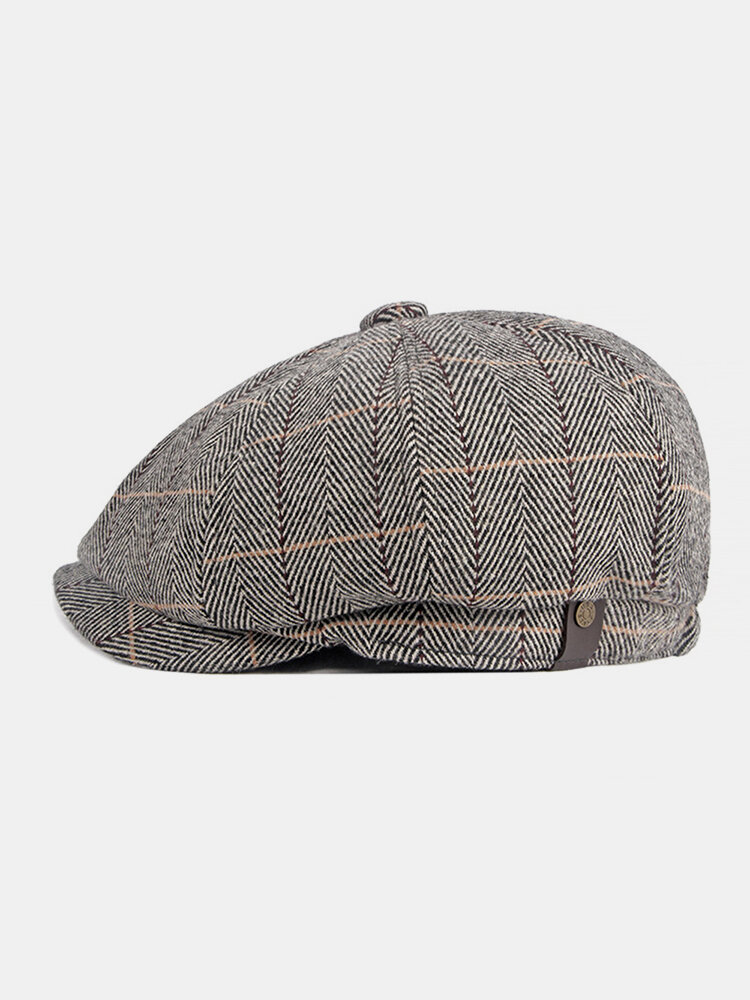 Men British Style Retro Elastic Casual Lattice Pattern Flat Hat Beret Hat Octagonal Hat