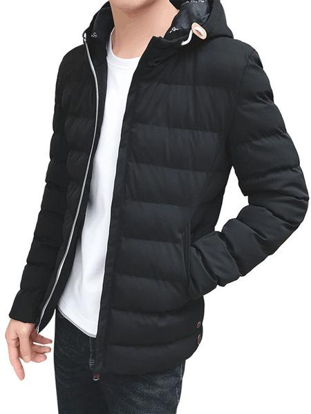 Milanoo Black Down Coat Hooded Long Sleeve Slim Fit Parkas Coat For Men