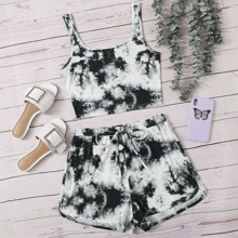 Tie Dye Crop Top and Dolphin Shorts Set