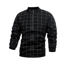 Guys Plaid Zip Up Bomber Jacket