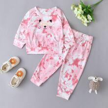 Baby Girl Tie Dye Cartoon And Letter Graphic Sweatshirt & Sweatpants