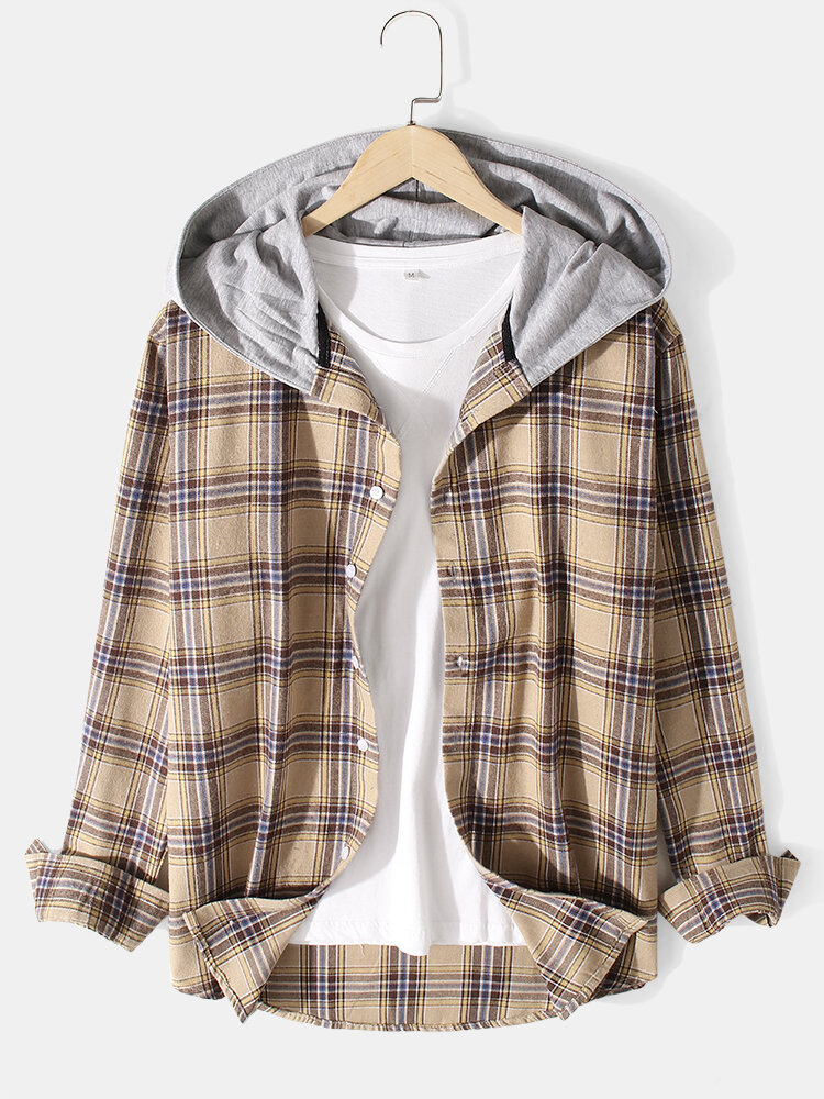 Mens 100% Cotton Plaid Curved Hem Button Casual Hooded Shirts