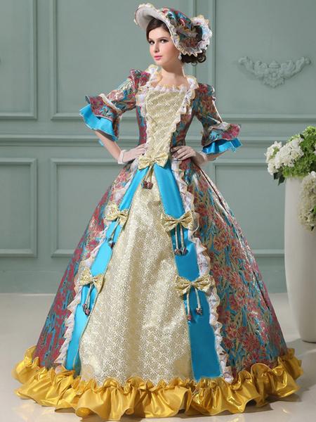 Milanoo Disfraz Halloween Vestido de Corte con estampado y encaje Halloween