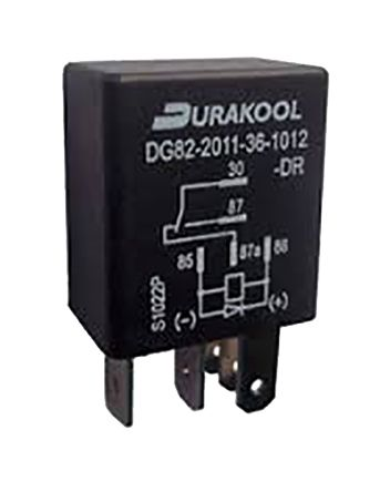 Durakool , 12V dc Coil Non-Latching Relay SPDT Plug In Single Pole