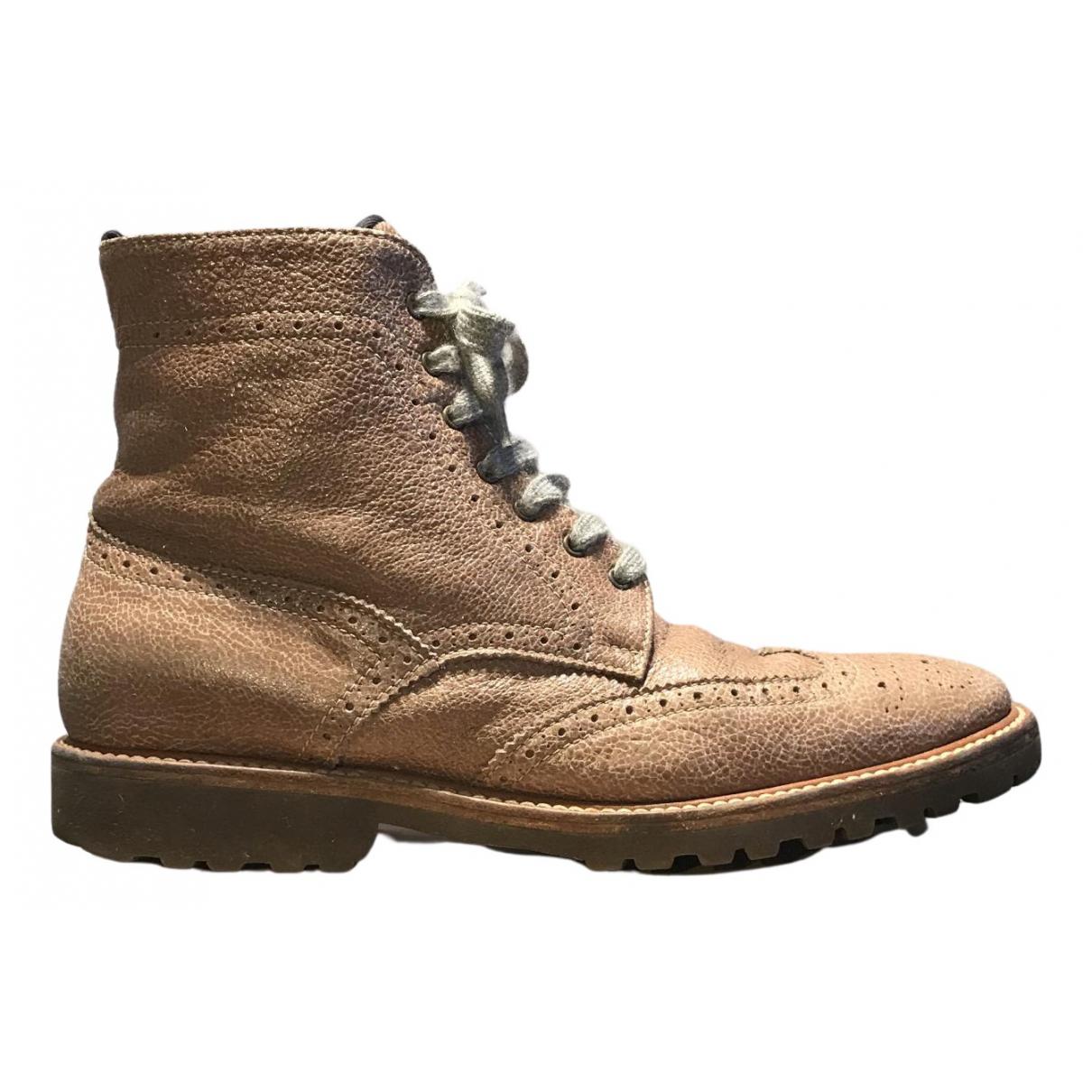 Brunello Cucinelli - Boots   pour femme en cuir - marron
