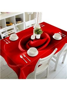 Warm Red Rose Prints Washable Dining Room Decoration 3D Tablecloth