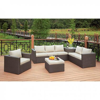 Davina CM-OS1818-SET Patio Set with Sectional Sofa with Storage Box  Ottoman  Chair Beige Fabric Cushions and Aluminum Frame in