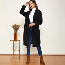 Notched Collar Single Button Overcoat