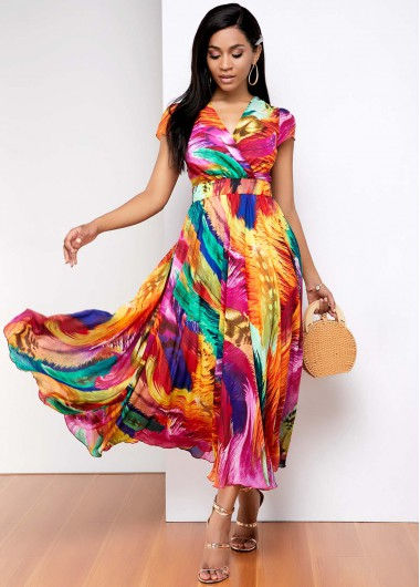 Wedding Guest Dress Rainbow gradient print V Neck Dress - 10