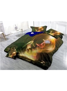 Stunning Little Witch Wear-resistant Breathable High Quality 60s Cotton 4-Piece 3D Bedding Sets