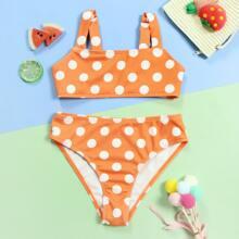 Gerippter Bikini Badeanzug mit Punkten Muster