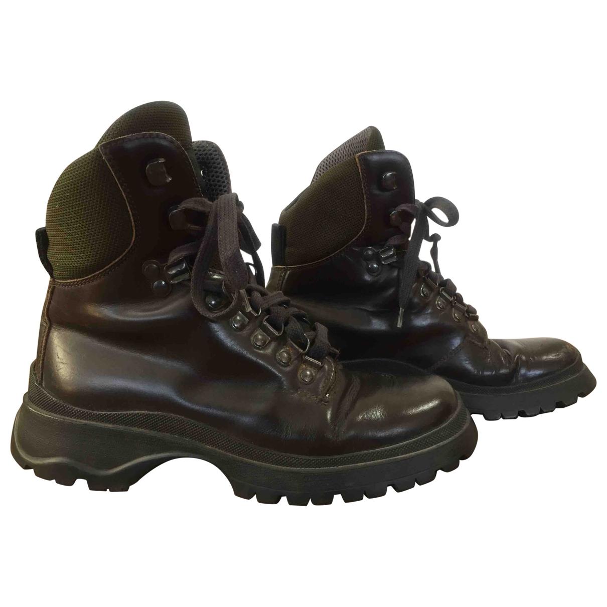 Prada - Boots   pour femme en cuir - marron