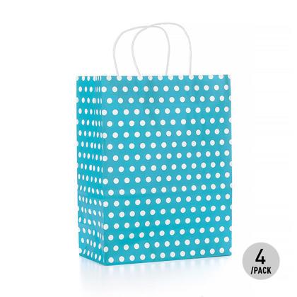 Sac cadeau à pois en papier kraft -Grand, bleu 4Pcs - LivingBasics ™