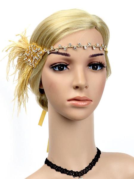 Milanoo 1920s Great Gatsby Headband Flapper Headpieces Feather Women Retro Hair Accessories Halloween