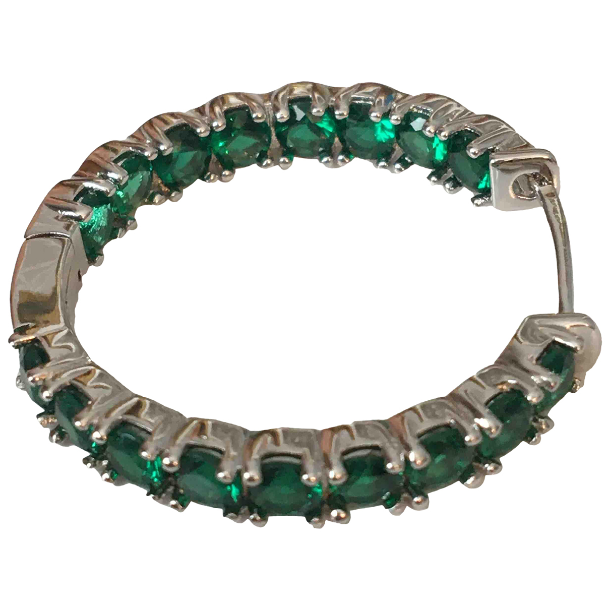 Non Signé / Unsigned Créoles Green Metal Earrings for Women \N
