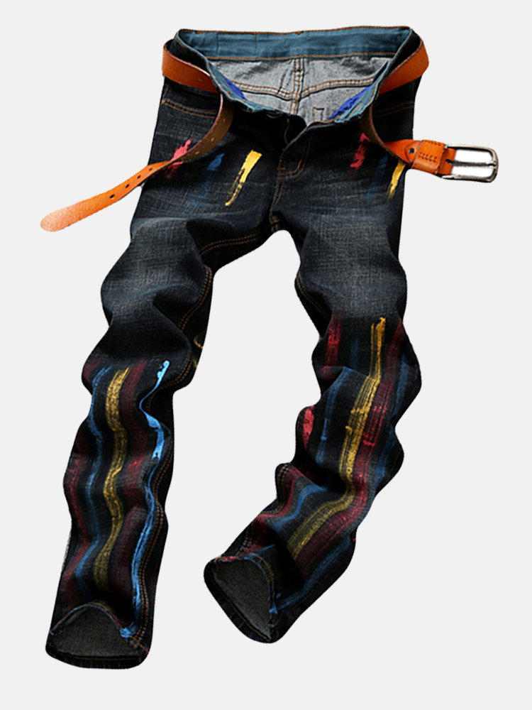 Vintage Patchwork Printing Straight Mid-Waist Jeans For Men