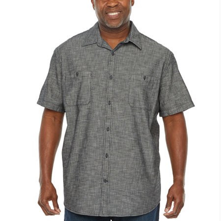 The Foundry Big & Tall Supply Co. Big and Tall Mens Short Sleeve Button Front Shirt, 3x-large , Black