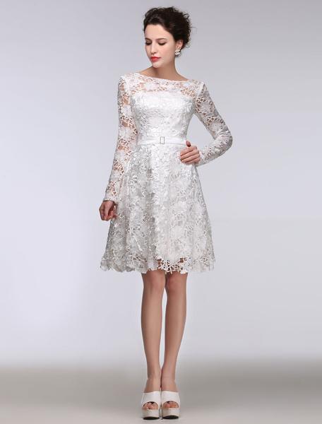 Milanoo Summer Wedding Dresses 2020 Short Lace A Line Long Sleeve Bateau Bridal Gown White Sash Knee Length Bridal Dress