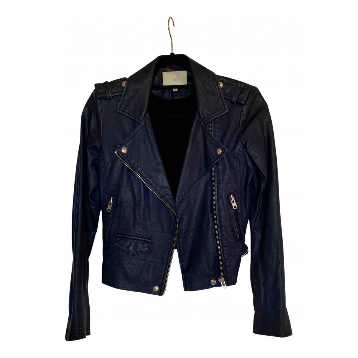 Giorgio & Mario N Blue Leather Leather jacket for Women 38 FR