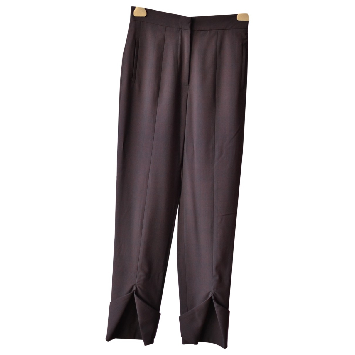 Non Signé / Unsigned \N Burgundy Wool Trousers for Women 40 IT