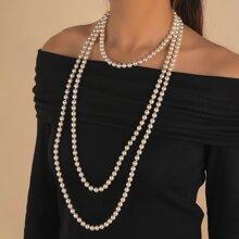 Collar con cuenta con perla artificial