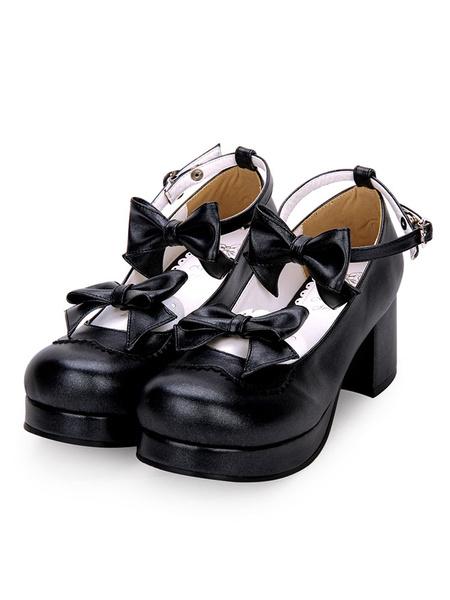 Milanoo Sweet Lolita Footwear Bow Ankle Strap Platform Chunky High Heel White Lolita Shoes