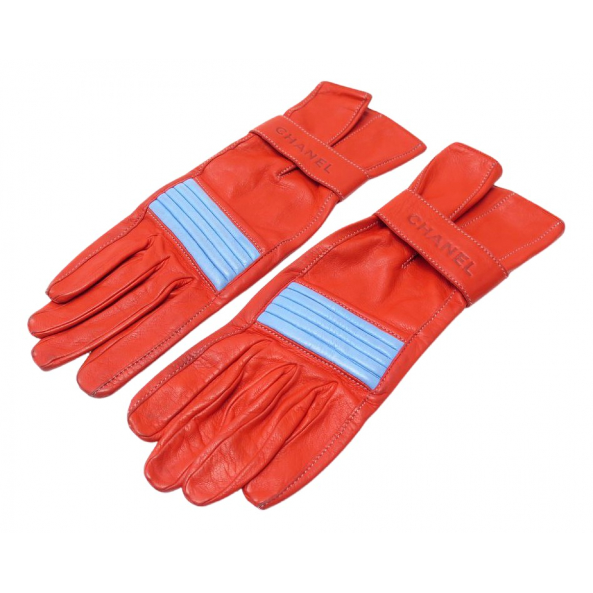 Chanel N Red Leather Gloves for Women 7 inches