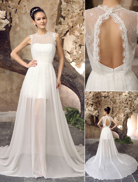 Milanoo Vestido de novia de chifon de color marfil con escote redondo para playas