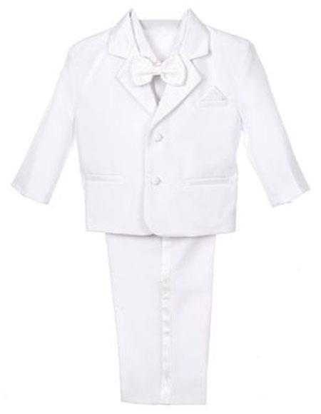Boy's 5 Piece Set Formal Tuxedo With Vest Bow Tie Dress Suit White
