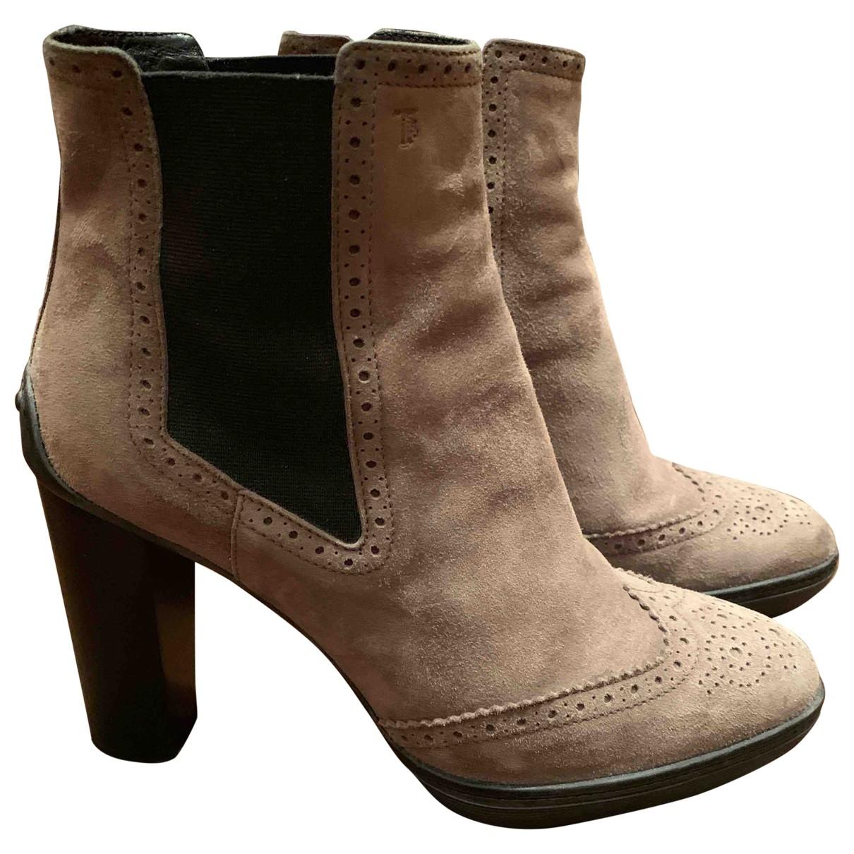 Tods - Boots   pour femme en suede - beige