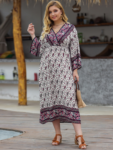 Yoins Plus Size Multicolor Wrap Design Paisley V-neck Long Sleeves Dress