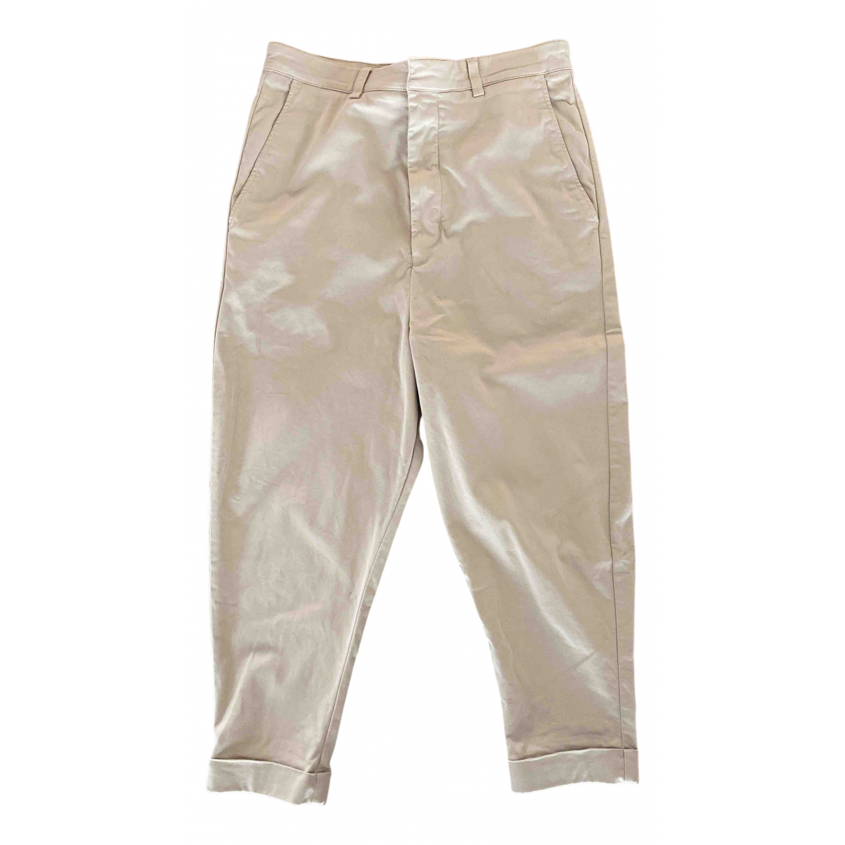 Ami \N Beige Cotton Trousers for Men 38 FR