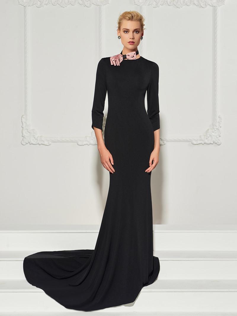 Ericdress 3/4 Sleeve Bowknot Mermaid Evening Dress With Sweep Train