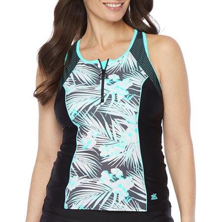 Zeroxposur Leaf Tankini Swimsuit Top, Xx-large , Blue