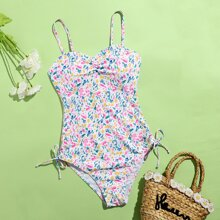 Allover Print Ruched One Piece Swimsuit