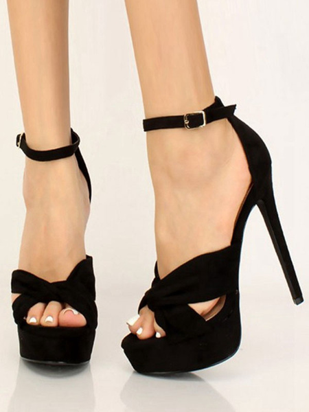 Milanoo Sandalias de tacon con tacon Zapatos de sandalias con correa de tobillo con plataforma abierta negra