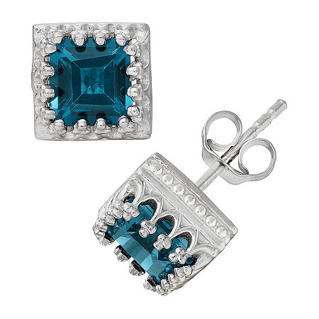 Genuine Blue Topaz Sterling Silver 8mm Stud Earrings, One Size , No Color Family