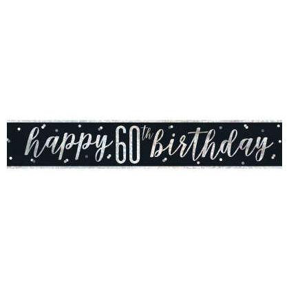 9ft Birthday Glitz Black & Silver Prismatic Foil Banner, 1ct - Age 60